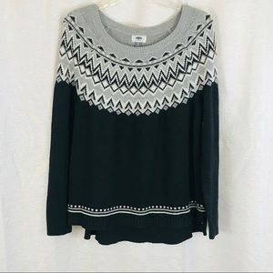 OLD NAVY Fair Isle Gray Sweater XL